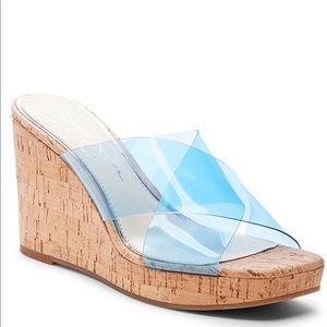 Jessica Simpson Transparent Wedges Clear Blue NEW